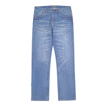 POT MEETS POP / CHEECH AND CHONG - TIEDSTICK DENIM PANTS WASHED BLUE