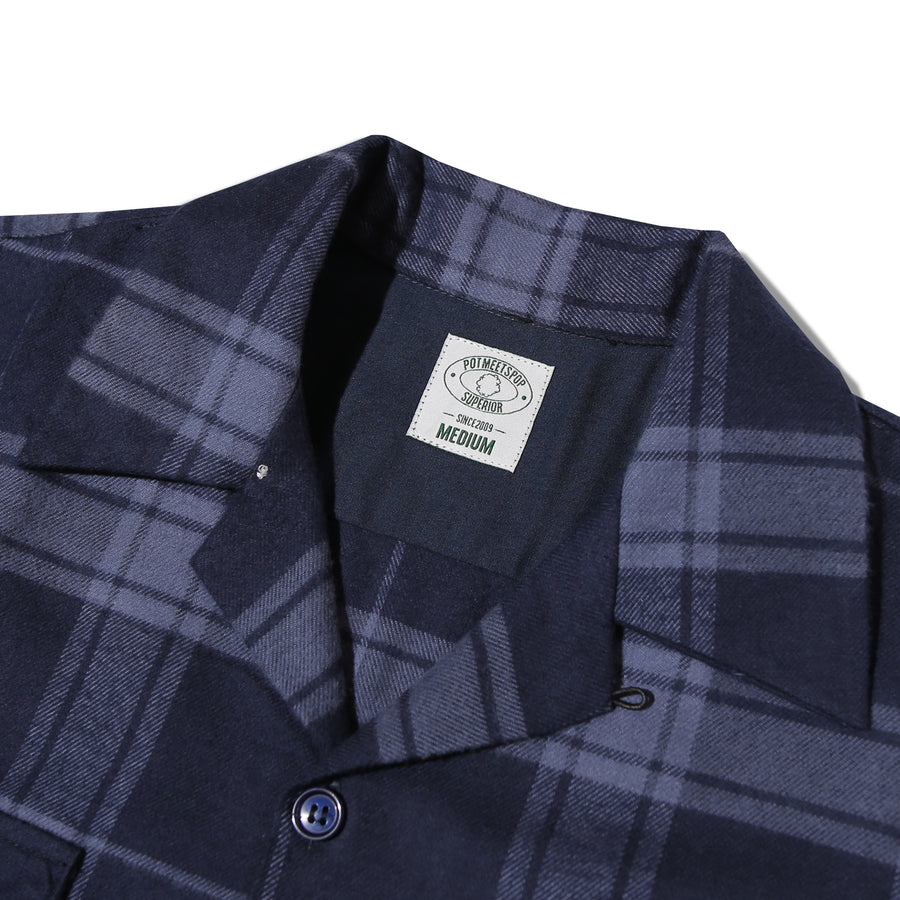 STASH FLANNEL LOOP COLLAR SHIRT NAVY F/W 20