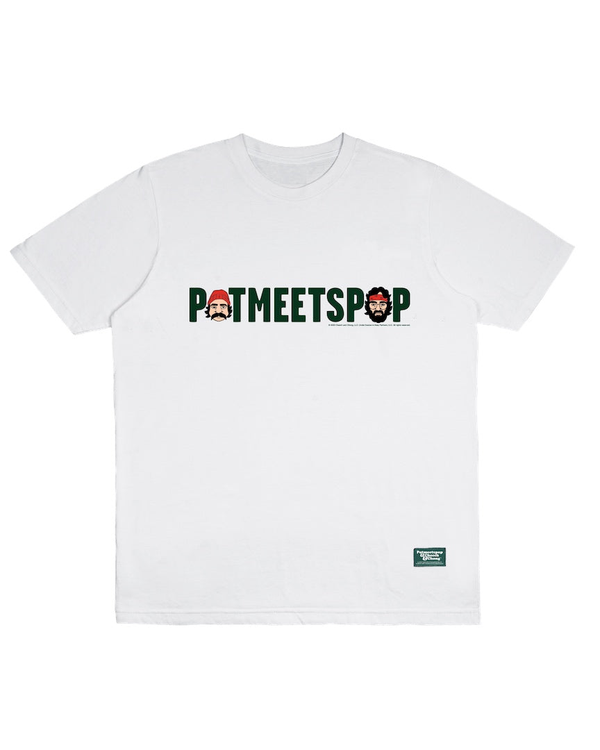 POT MEETS POP / CHEECH AND CHONG - LOGO HEADS TEE WHITE