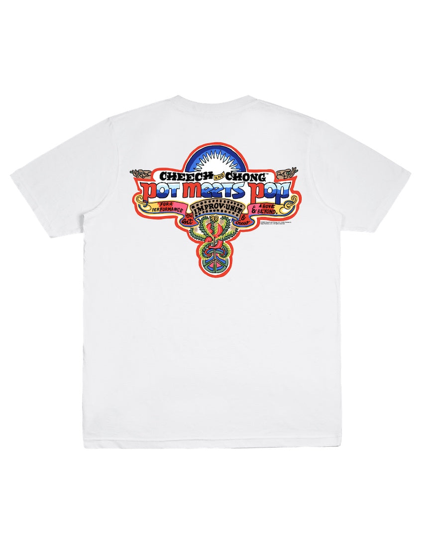 POT MEETS POP / CHEECH AND CHONG - NICE DREAMS PATCH TEE WHITE