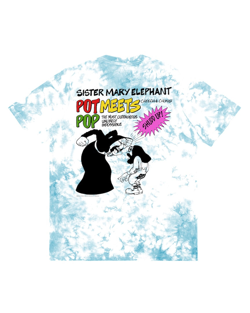 POT MEETS POP / CHEECH AND CHONG - SISTER MARY ELEPHANT TEE TIE-DYE BLUE