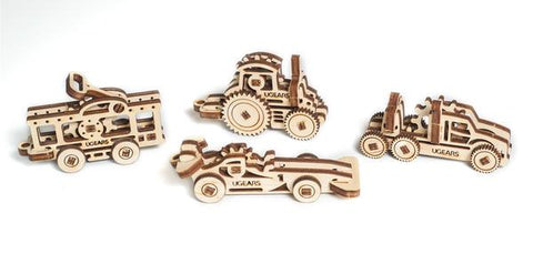U-Fidgets Mini Wooden 4-Vehicle Model Kit