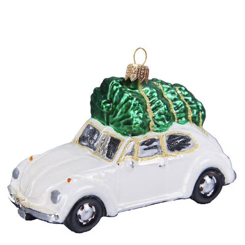 Vintage Beetle Ornament - White