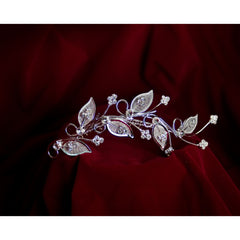 Rhinestone Hair Comb with Leaves