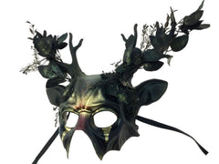 Black Mask with Ears and Antlers