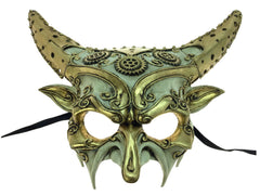 White and Gold Steampunk Demon Mask
