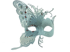 White Butterfly Mask with Red Rhinestones