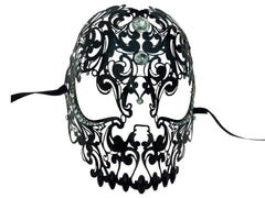 Laser Cut Skull Mask with Rhinestones