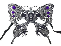 Black Laser Cut Butterfly Mask with Purple Rhinestone