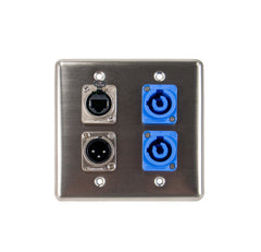 OSP Q-4-2PCB1E1XM Quad Wall Plate w/ 2 Powercon A, 1 Tactical Ethernet, and 1 XLR Male