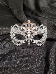 White Laser Cut Mask with Crown