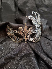 Silver Laser Cut Mask with Butterfly