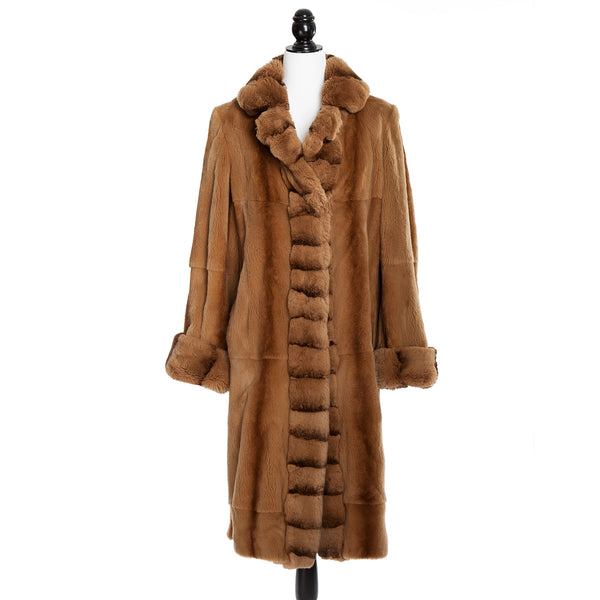 Golden Sheared Asian Mink Coat with Reversible Front & Cuffs