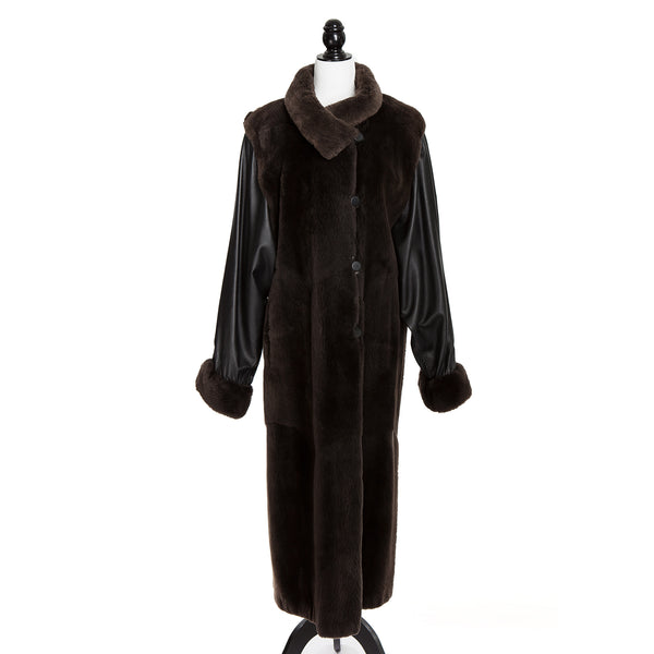Sheared Nutria and Leather Sleeves Long Coat