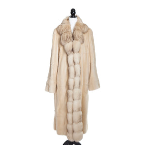 Sheared Ivory Asian Mink Coat Reversible to Brocade Rainsilk