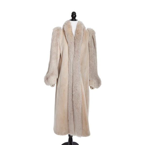 Oyster Sheared Beaver Coat with Fox Trim