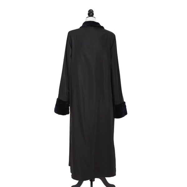 Navy Sheared Beaver Long Coat Reversible to Black Rainsilk