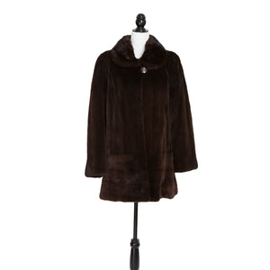 Mahogany Sheared Mink, ¾ Stroller Long Hair with Mink Collar