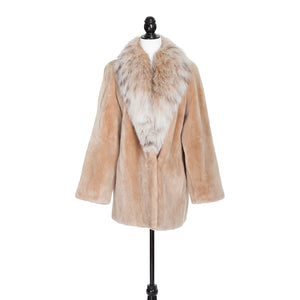 Biscuit Sheared Beaver Jacket with Canadian Lynx Trim