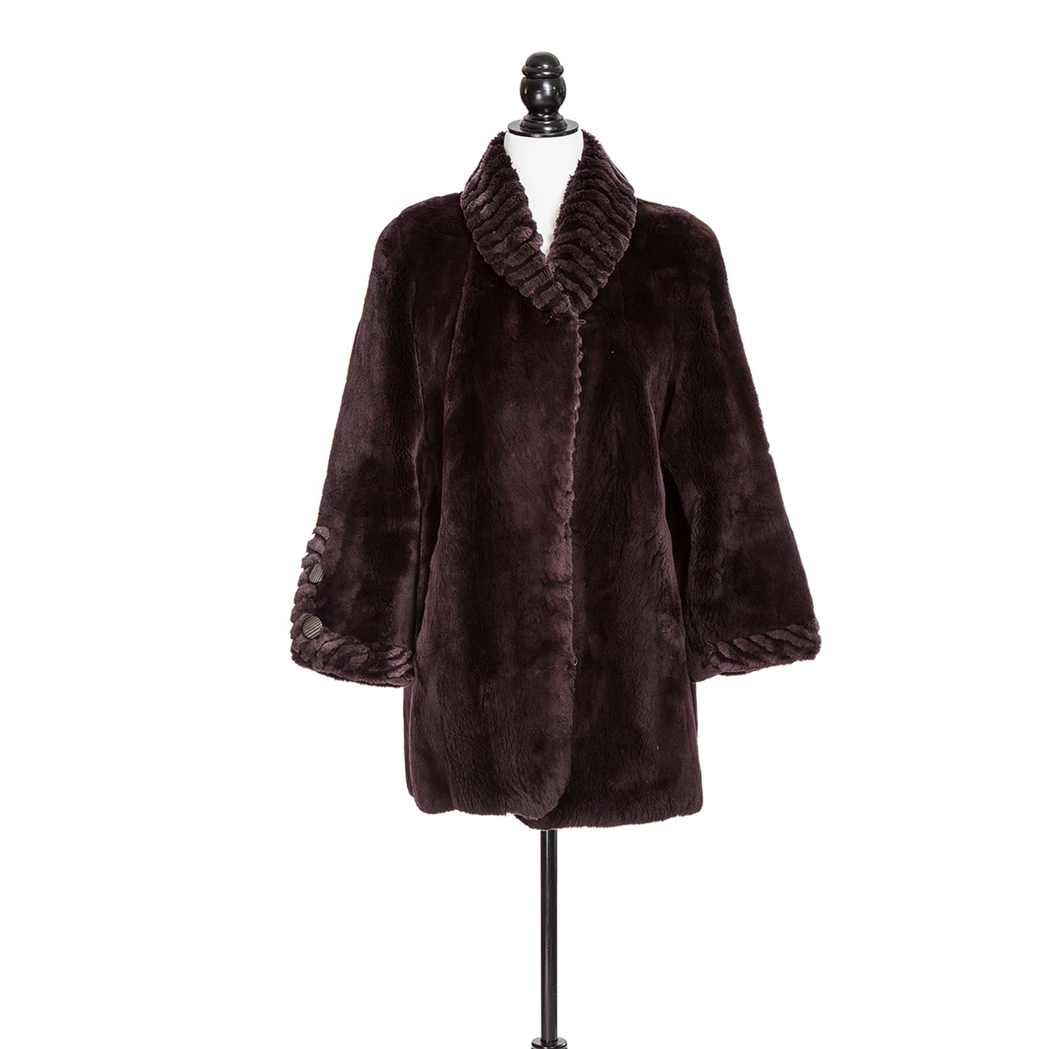 Petite Black Cherry Sheared Beaver Jacket