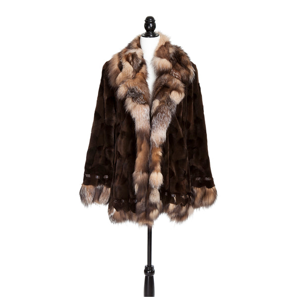 Sheared Brown Mink Sections Crystal Fox TR Trotter