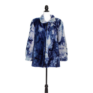 Tie-Dye Blue Sheared Beaver Jacket