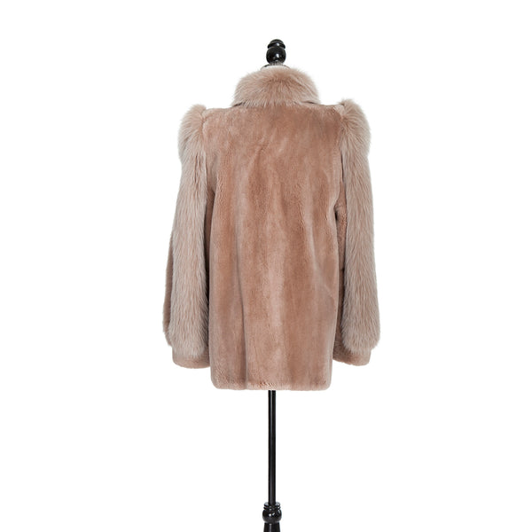 Blush Sheared Beaver Jacket with Fox Trim