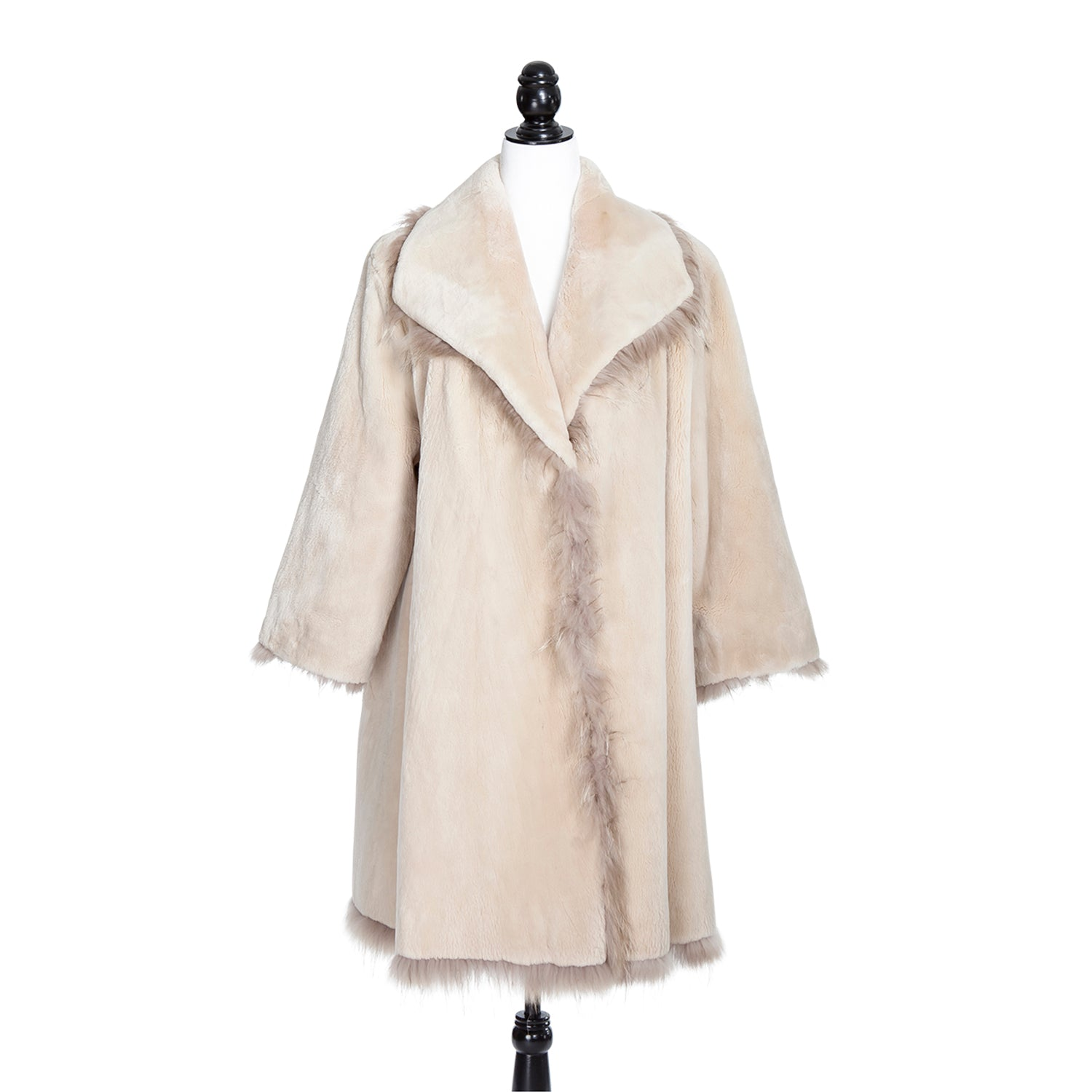 Ivory Sheared Mink Swing Coat with Fox Trim