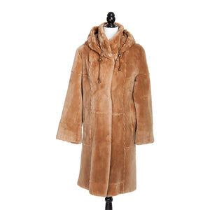 Caramel Sheared Beaver with Trotter Rope Trim & Detachable Hood
