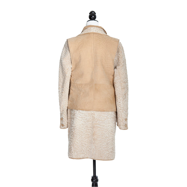 Golden Persian Lamb Car Coat Reversible to Suede with Separate Vest
