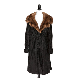 Black Broadtail Coat with Sable Trim