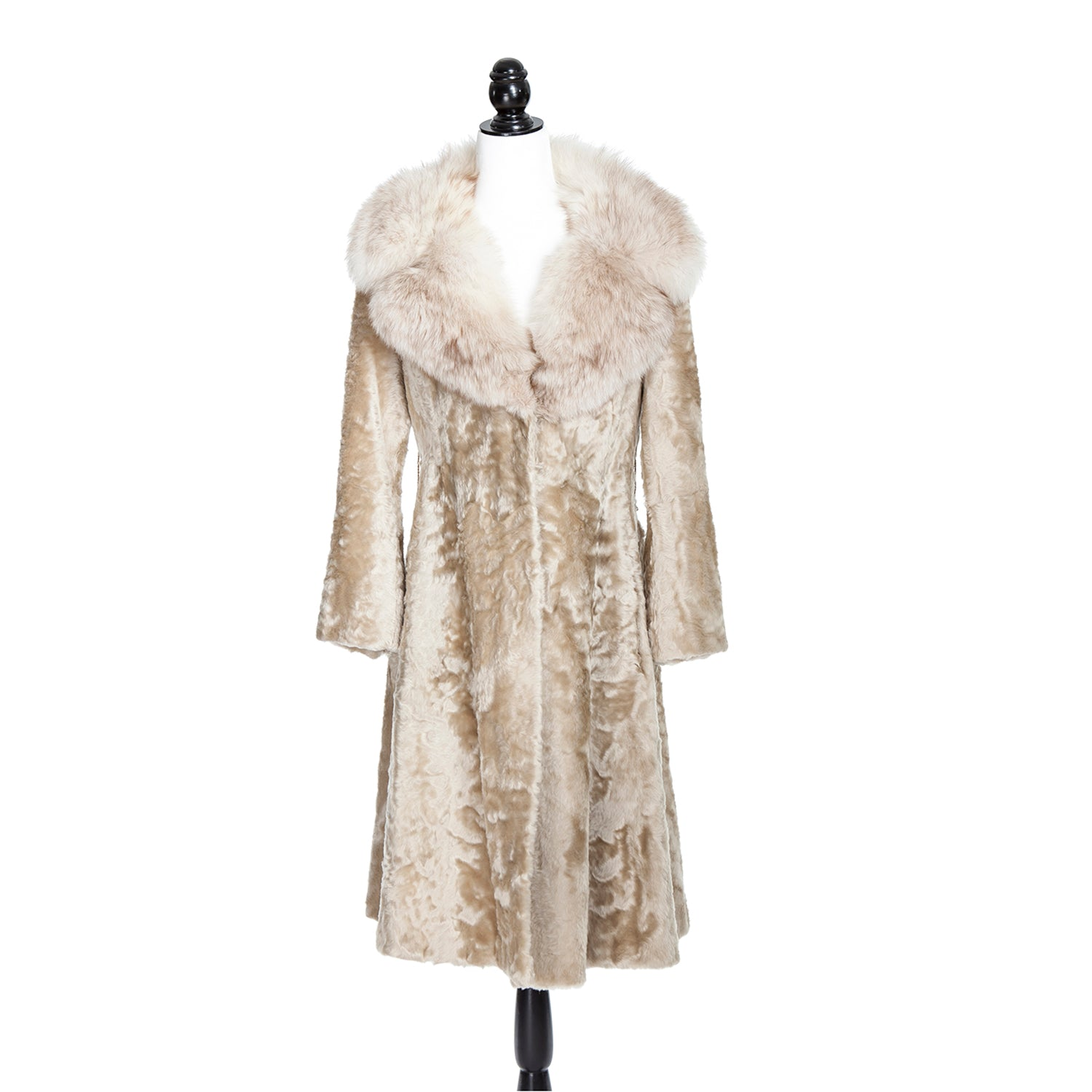Ivory Astrakan Coat with Fox Trim