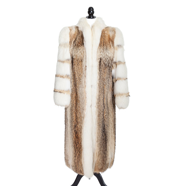 Coyote Coat with Fox Sleeves