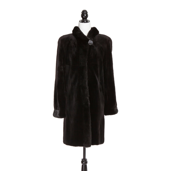 Black Sheared Mink Coat Long Hair Mink Tr Reversible to Black Rainwear