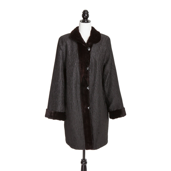 Brown Sheared Mink Reversible to Krinkle Rainwear