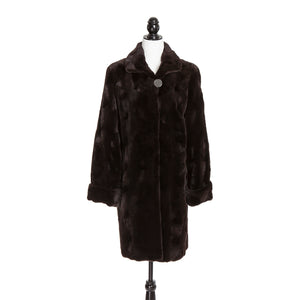 Brown Sheared Mink Oval Short Coat Reversible to Rainwear