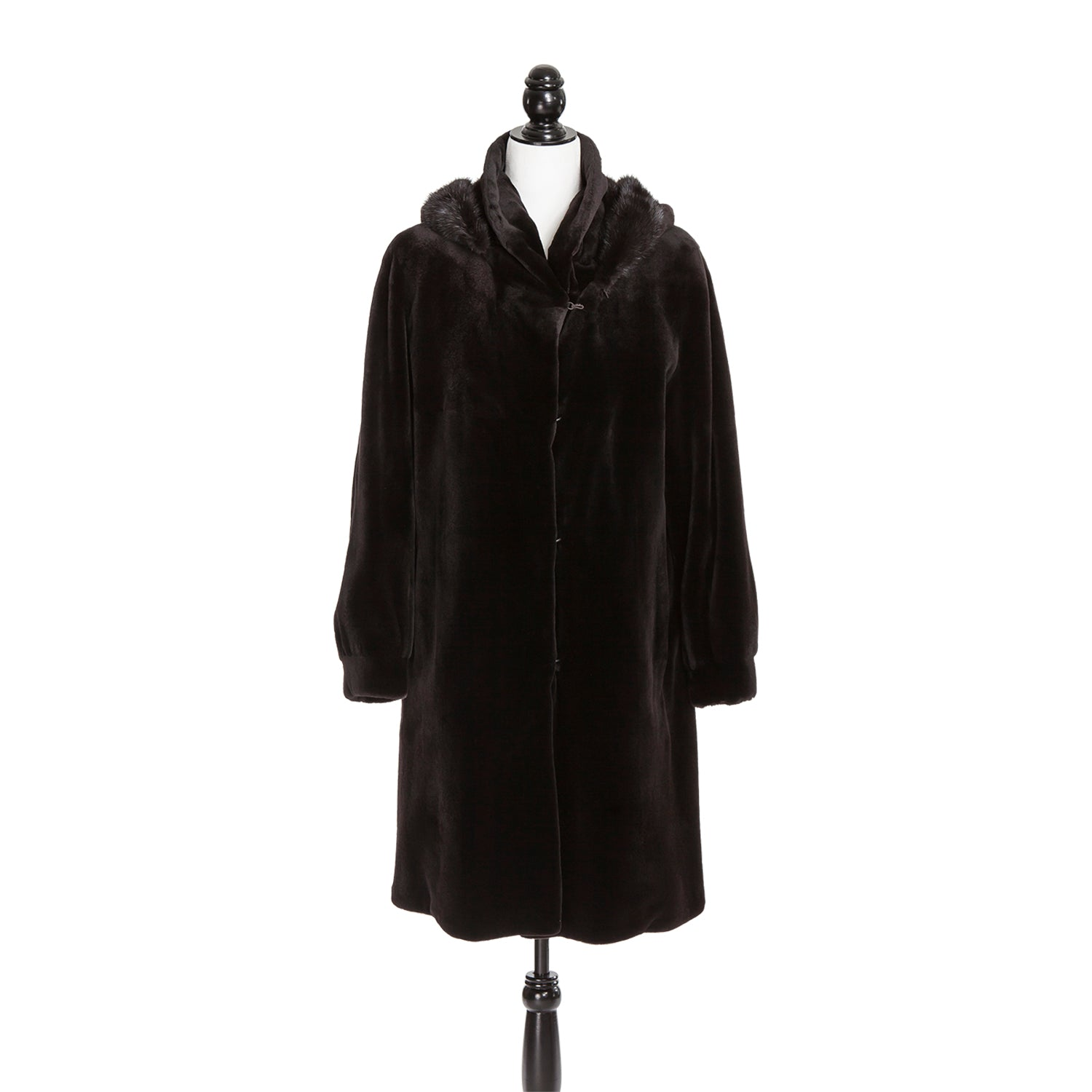 Brown Sheared Mink Coat with Detachable Hood Reversible to Rainwear