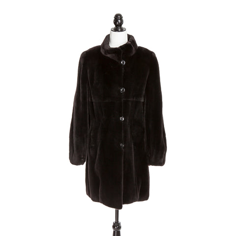 Brown Plucked Mink Short Coat Reversible to Black Rainwear