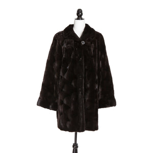 Dark Brown Mink Section Coat Reversible to Rainwear Long Hair Tr