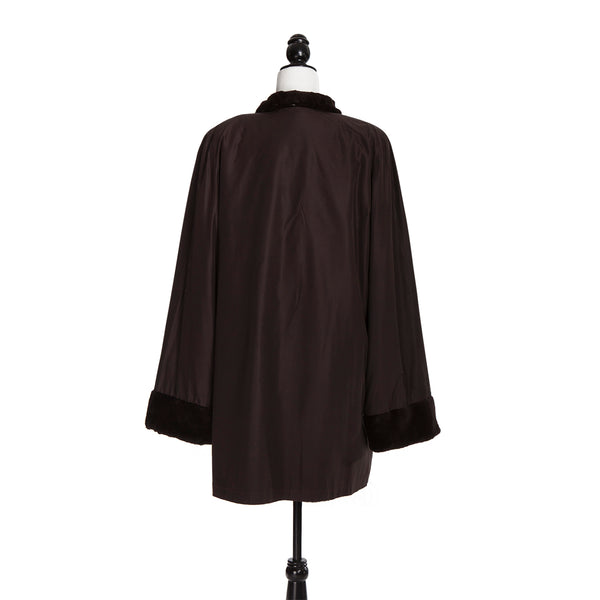 Brown Horizontal Sheared Mink Reversible to Rainwear Coat