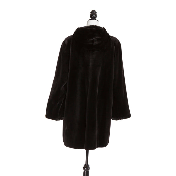 Dark Brown Sheared Mink Long Hair Tr Coat