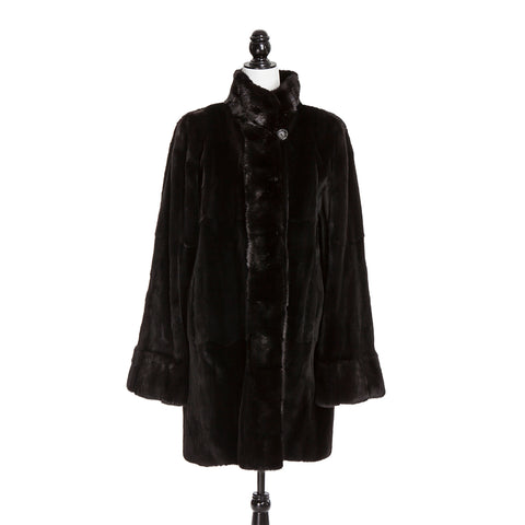 Black Sheared Asian Mink Short Coat Long Hair Tr Reversible to Fabric