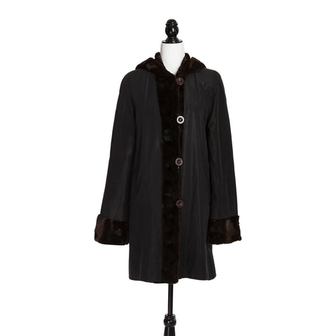 Brown Sheared Mink Section Reversible Coat with Hood