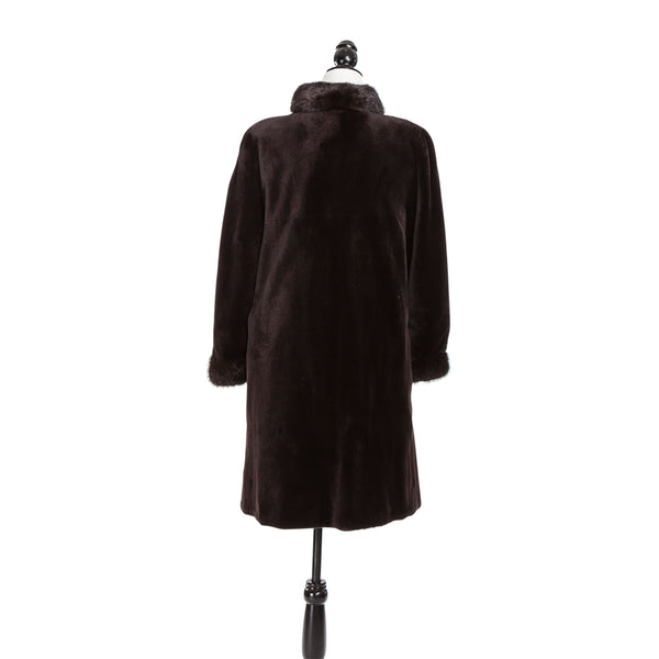 Brown Sheared Mink Long Hair Trim Coat Reversible to Rainwear