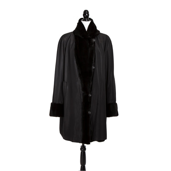 Black Sheared Asian Mink Coat Reversible to Fabric