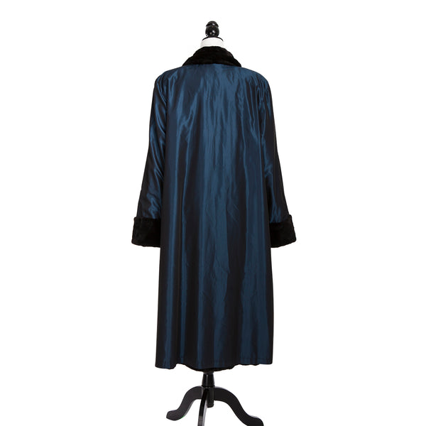 Black Sheared Mink Section Coat Reversible to Sapphire Blue Rainwear