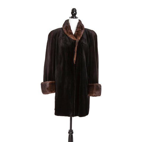 Brown Sheared Mink Coat Caramel Long Hair Mink TR