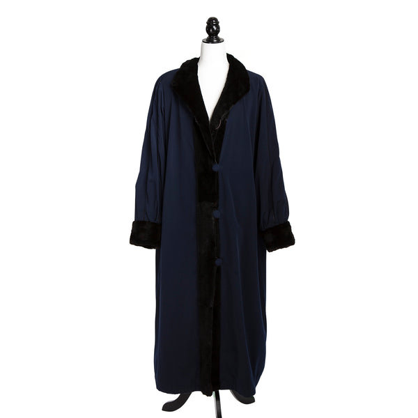 Brown Sheared Mink Section Coat Reversible to Blue Rainwear