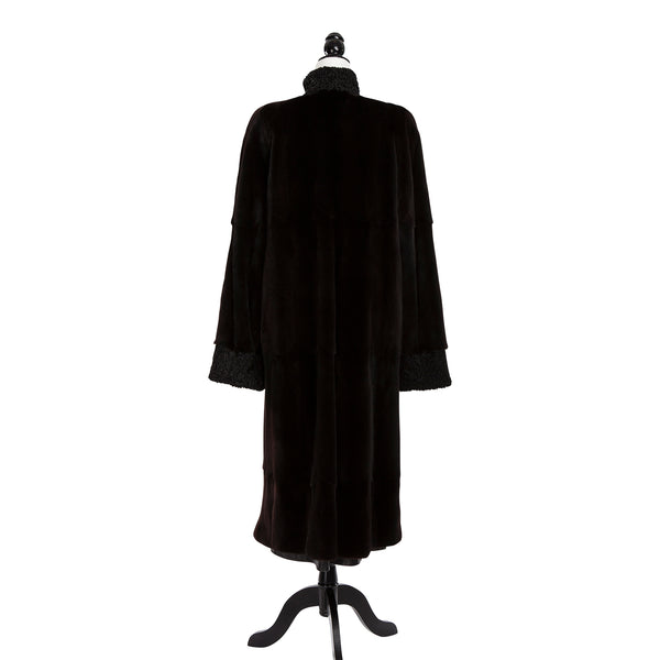 Black Sheared Mink Coat w/Persian Lamb Trim Reversible to Leather