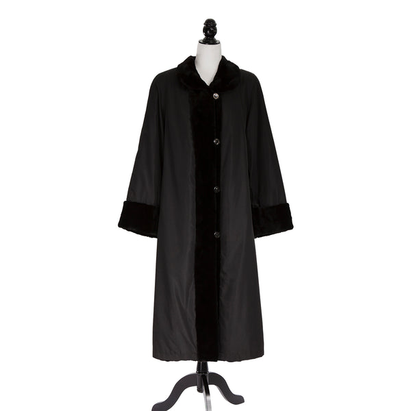 Black Sheared Mink Section Coat Reversible to Rainwear with Detachable Hood